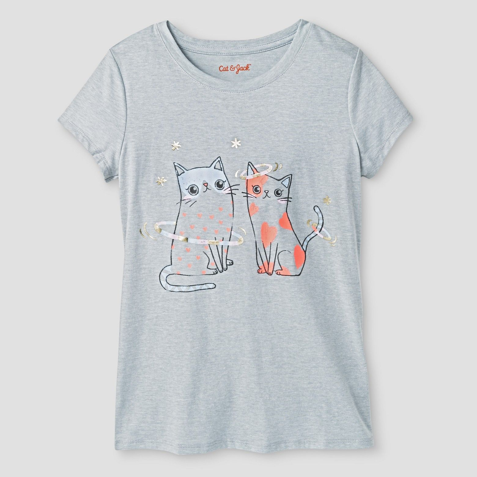 This Girls Cat Graphic Tee from Cat & Jack in Masonry Gray will