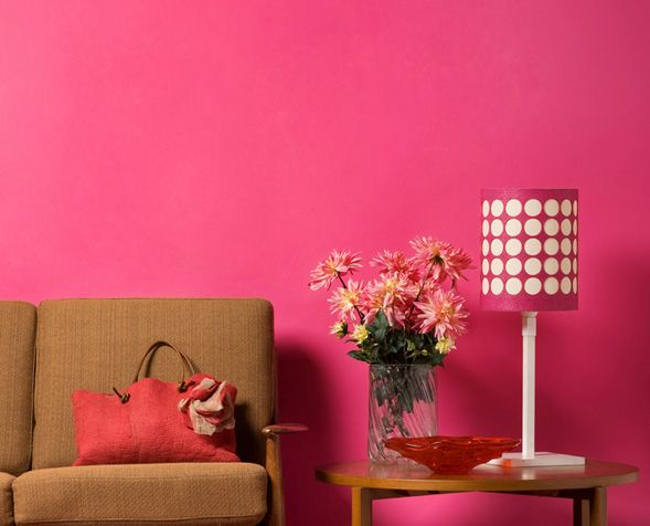 Room. Bright pink wall in  LivingRoom   Outdoor Furnishing   Pinterest