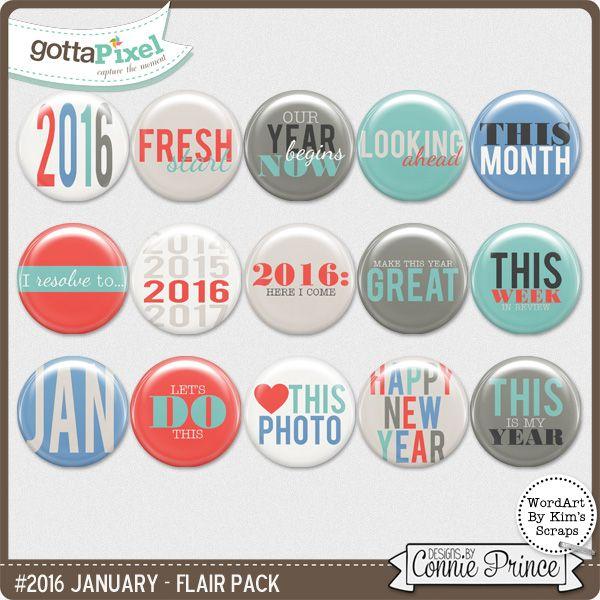 #2016 January - Flair Pack :: Gotta Pixel Digital Scrapbook Store $2.99