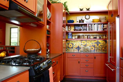 Orange kitchen - love it!