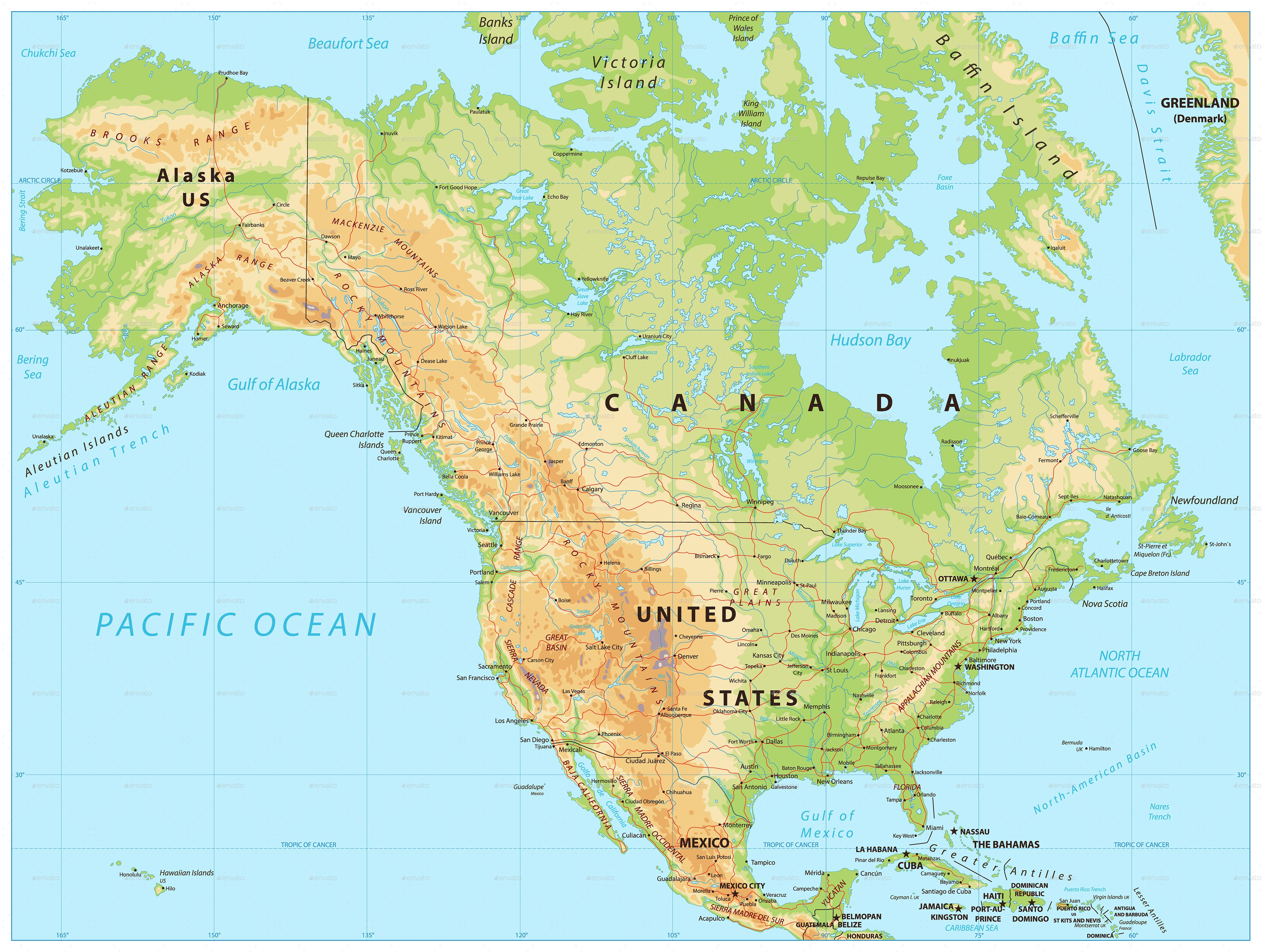 North America Physical Map #Ad #America, #spon, #North, #Map ...