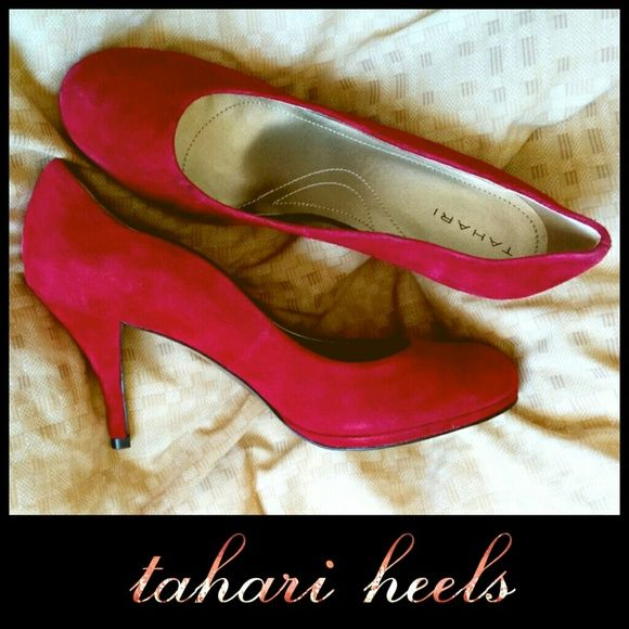 Tahari Colette Red Suede Heels 9.5 M AND 9 M