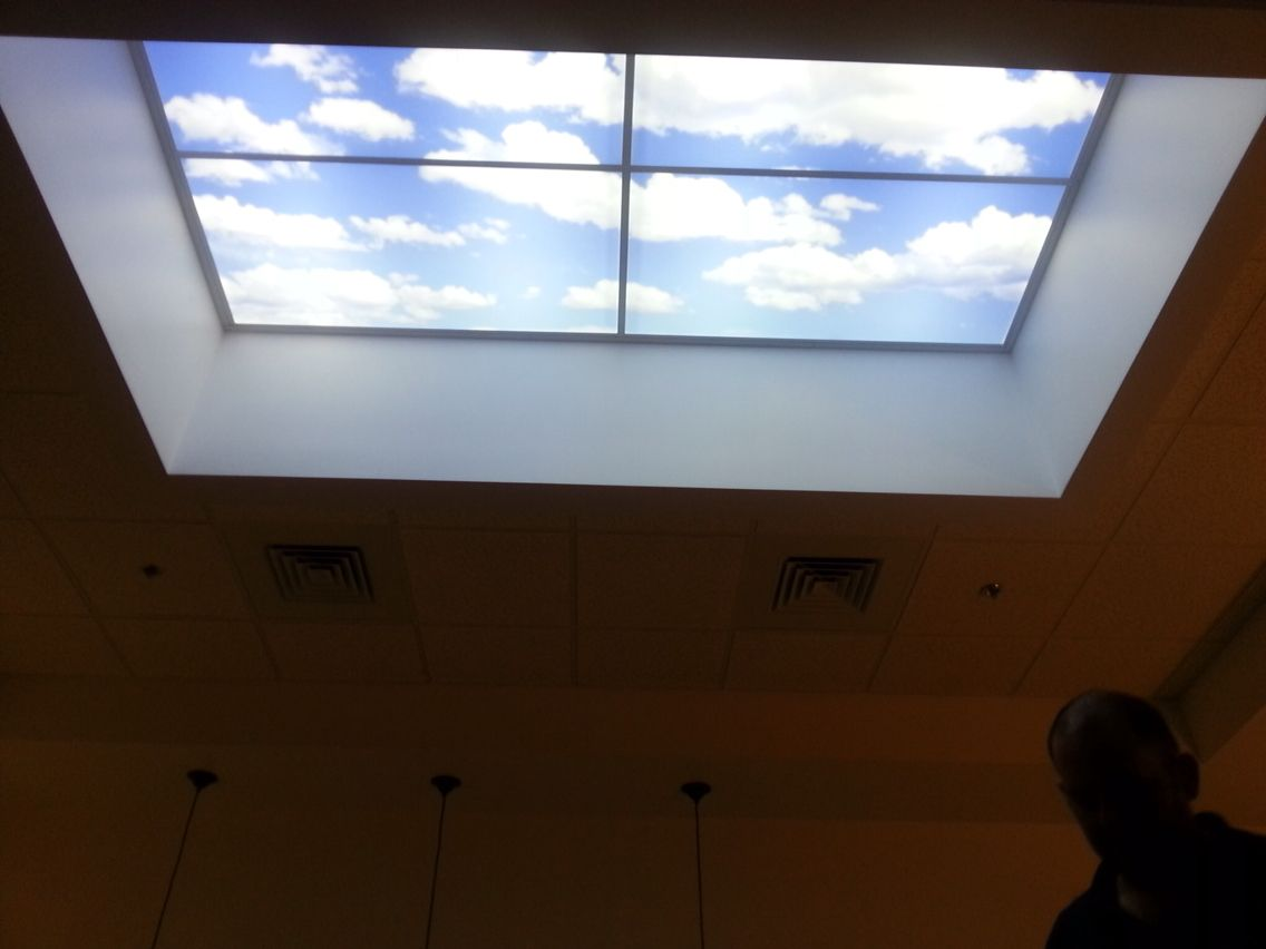 Faux Skylight Using Daylight Led Panels And Custom Kith Lens From Artificial Sky Ceiling Panels Fake Window Light Faux Window