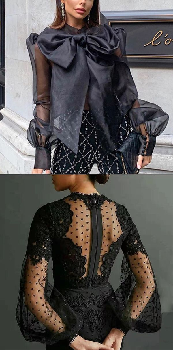 Black Elegant Tops For Woman 3