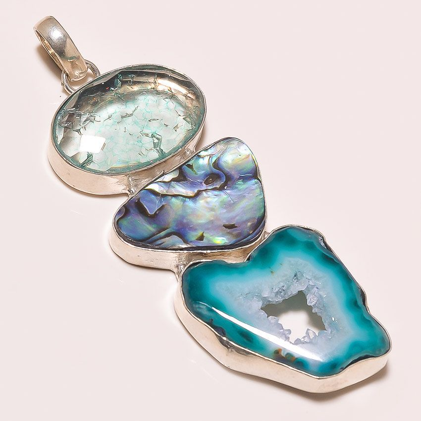 Beautiful Design Combinaton of 3 Gemstones Crack Crystal Abalone Shell Druzy Handcrafted Pendant by Realvaluejewels on Etsy