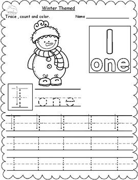 winter themed count trace color numbers 1 10 number counting worksheets preschool number. Black Bedroom Furniture Sets. Home Design Ideas