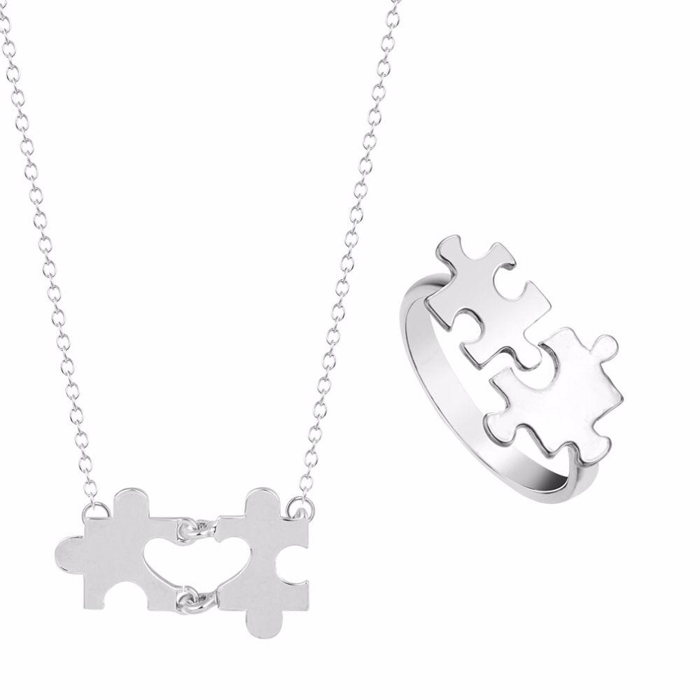 Kinitial pcs fashion heart engagement jewelry bridal jewelry sets