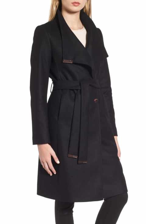 2ff9b3986 Ted Baker London Wool Blend Long Wrap Coat