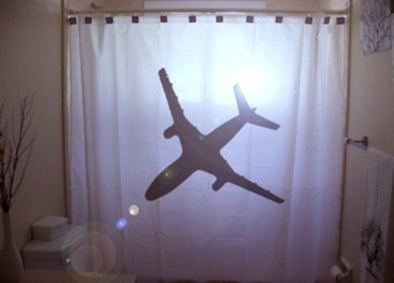 Airplane Shower Curtain Jumbo Jet 747 Bathroom Decor Airline Passenger Plane Aviation Pilot Aircr