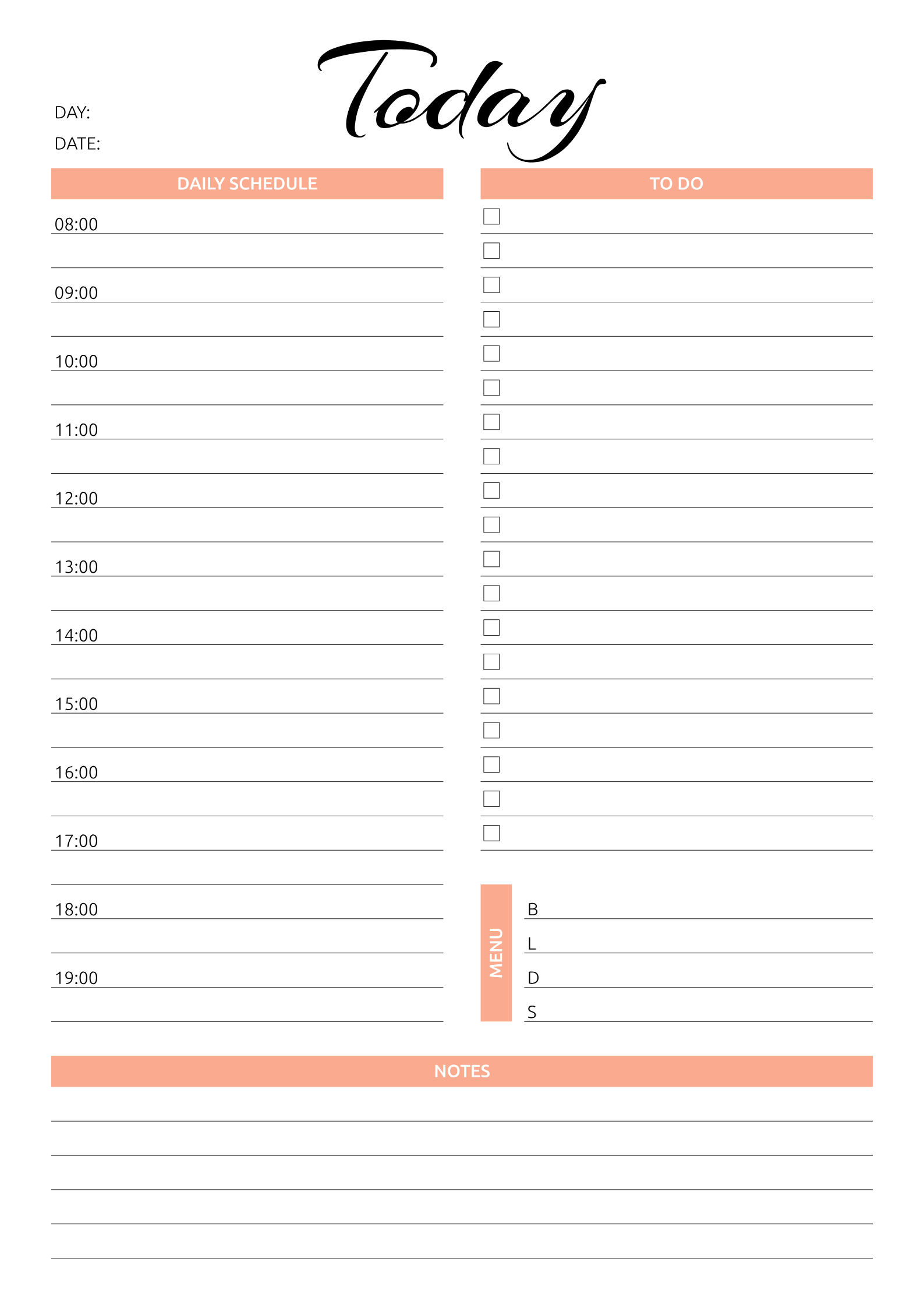 Printable Today Hourly Planner Pdf Download Daily Planner Template Schedule Planner Hourly Planner