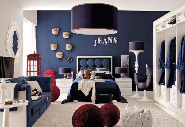 blue white interior teen boy bedroom ideas red accents drum ...
