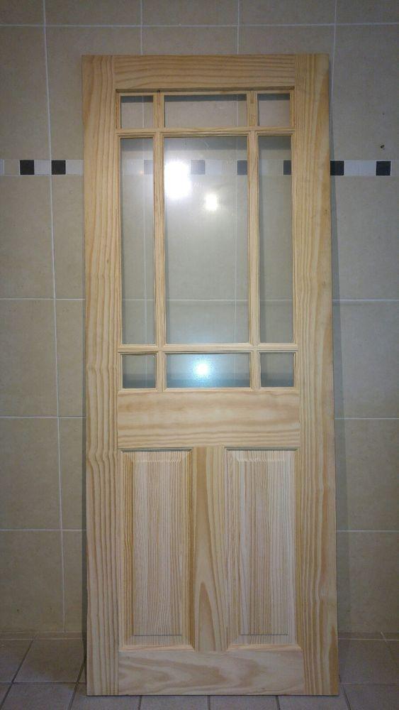 9 Panel Glazed Glass Pine Internal Door Solid Wooden Soft Unfinished