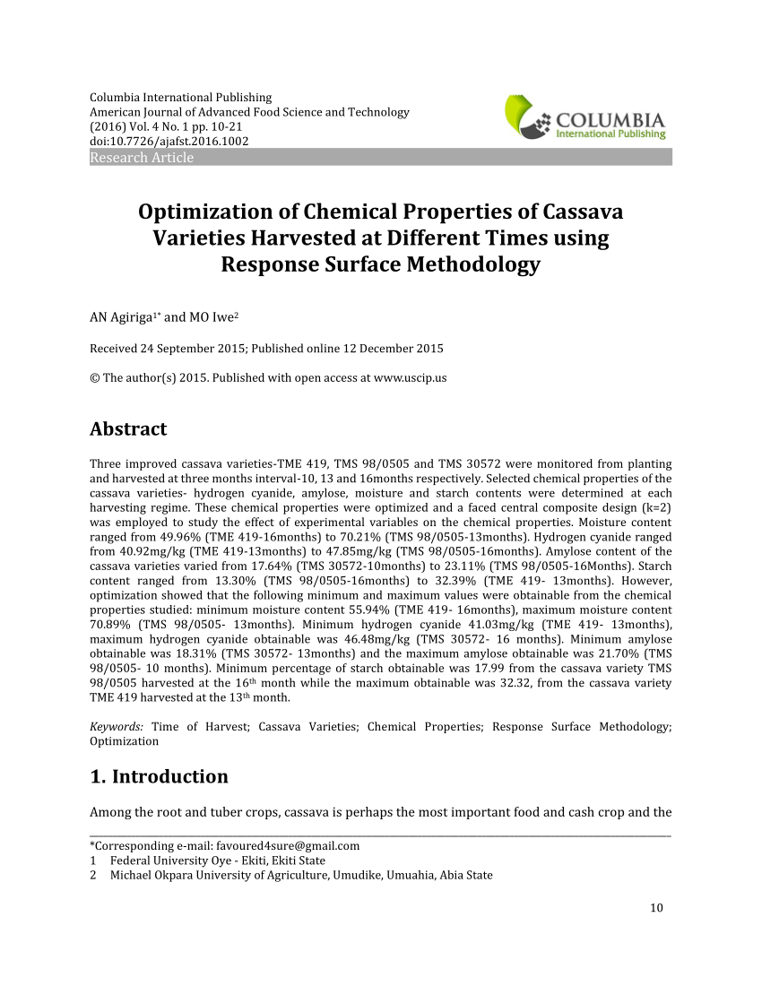 Pdf Three Improved Cassava Varieties Tme 419 Tms 98 0505 And Tms 30572 Were Monitored From Planting And Harvested At Thre Chemical Property Cassava Chemical