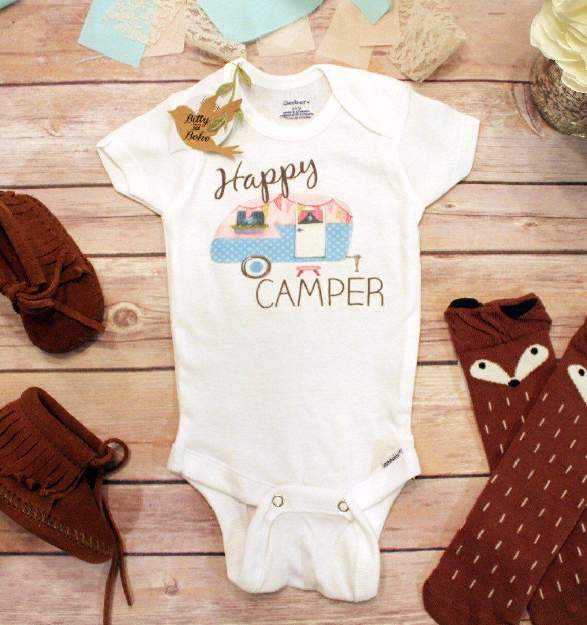 Happy Camper Onesie®, Baby Girl Clothes, Baby Shower Gift ...
