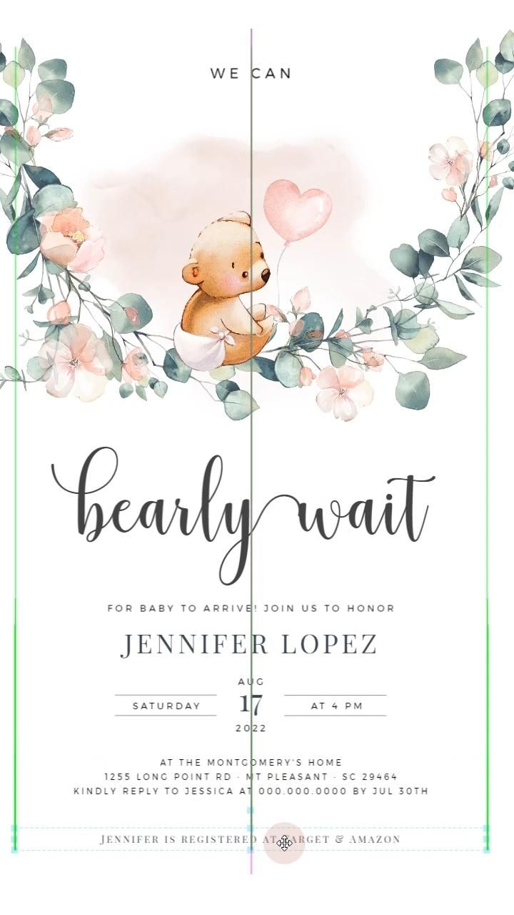 We Can Bearly Wait - Girl Baby Shower Invite