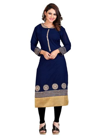 NAVY BLUE EMBROIDERED STITCHED KURTI
