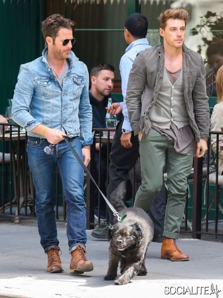 Nate Berkus And Jeremiah Brent Walking Their Dog After Lunch