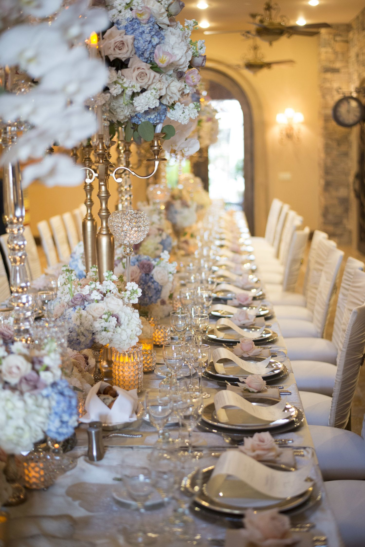 Luxury Wedding With Tall Centerpiece They Wanted A Royal Wedding