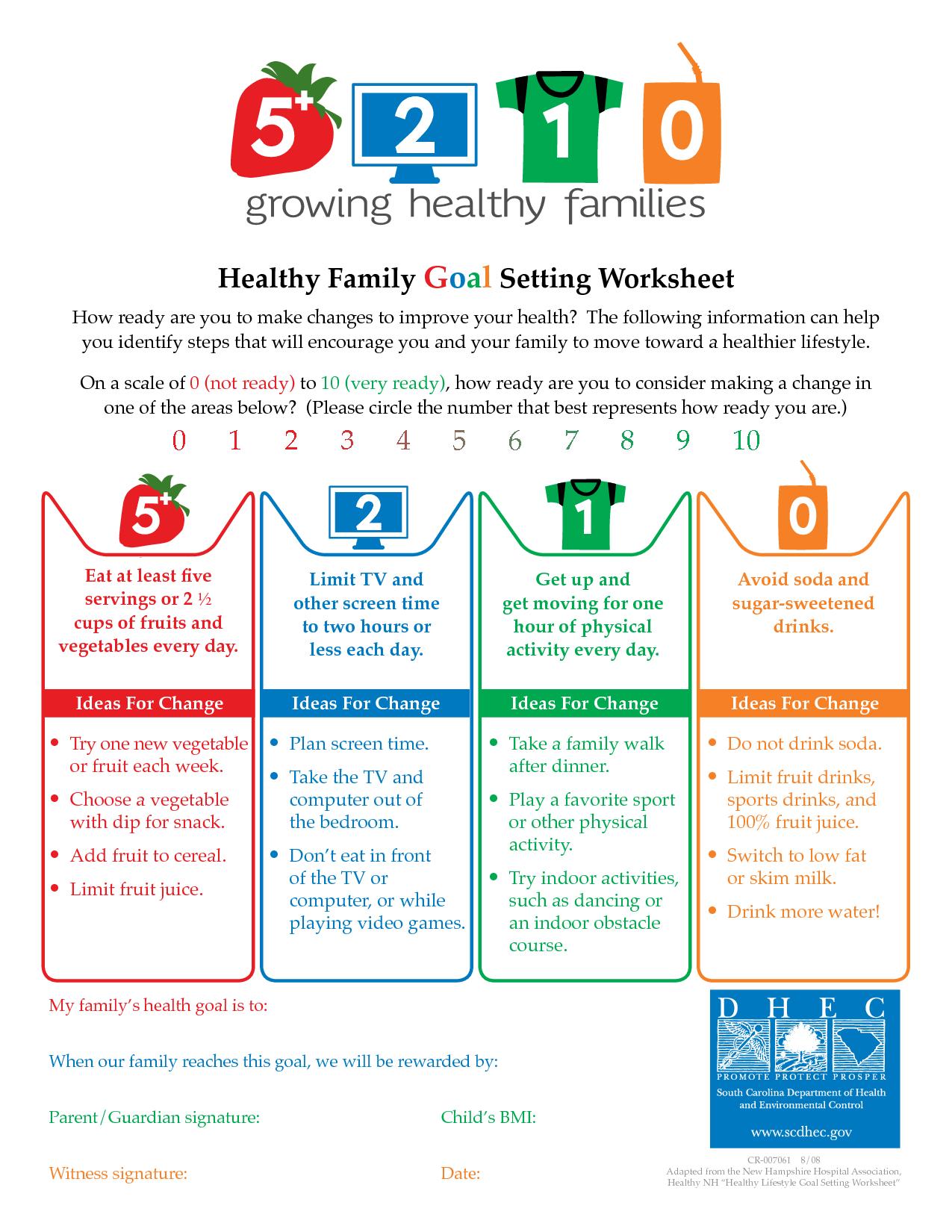 Goal Setting Worksheets | Healthy Lifestyle Goal Setting ...