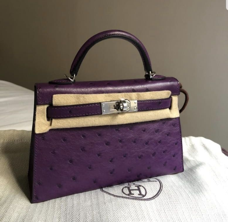 5f9f98e729b2 Hermes mini Kelly II Violet Ostrich with Silver Hardware  bags  handbags   ostrich