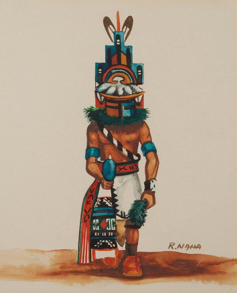 ray naha hopi artist | Original Painting of Hemis Katsina [SOLD] | Native american paintings ...