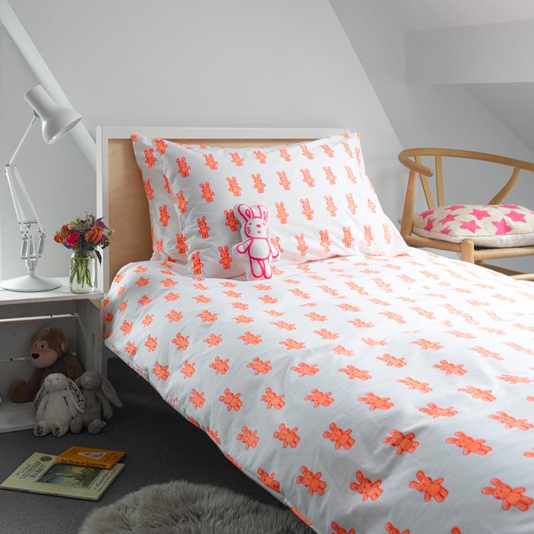 Bunny Rabbit Singe Duvet Cover, Kids Bedding and Patterned
