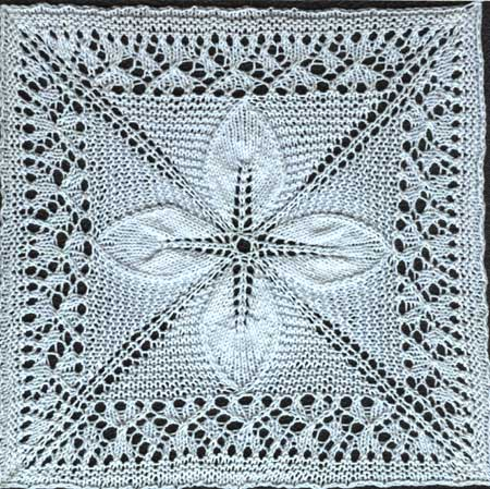 Quilt Square Counterpane With Leaves Knit Free Pattern Knit