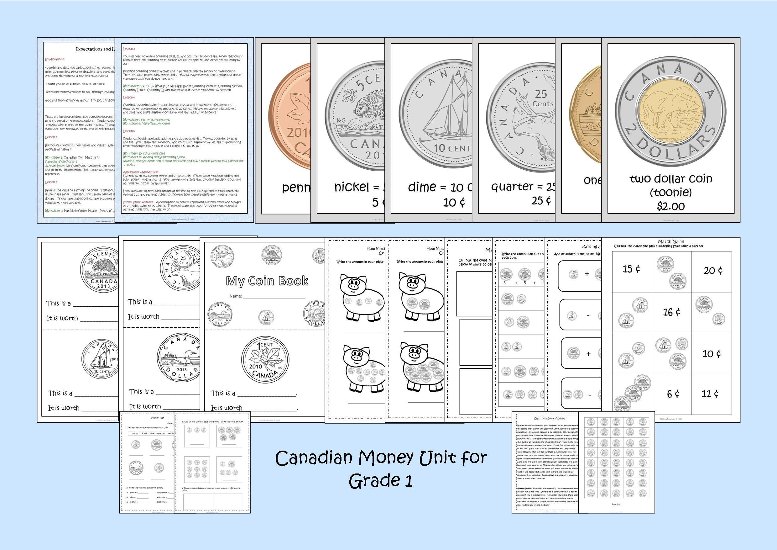 This Canadian Money Unit For Grade 1 Contains Lesson Ideas