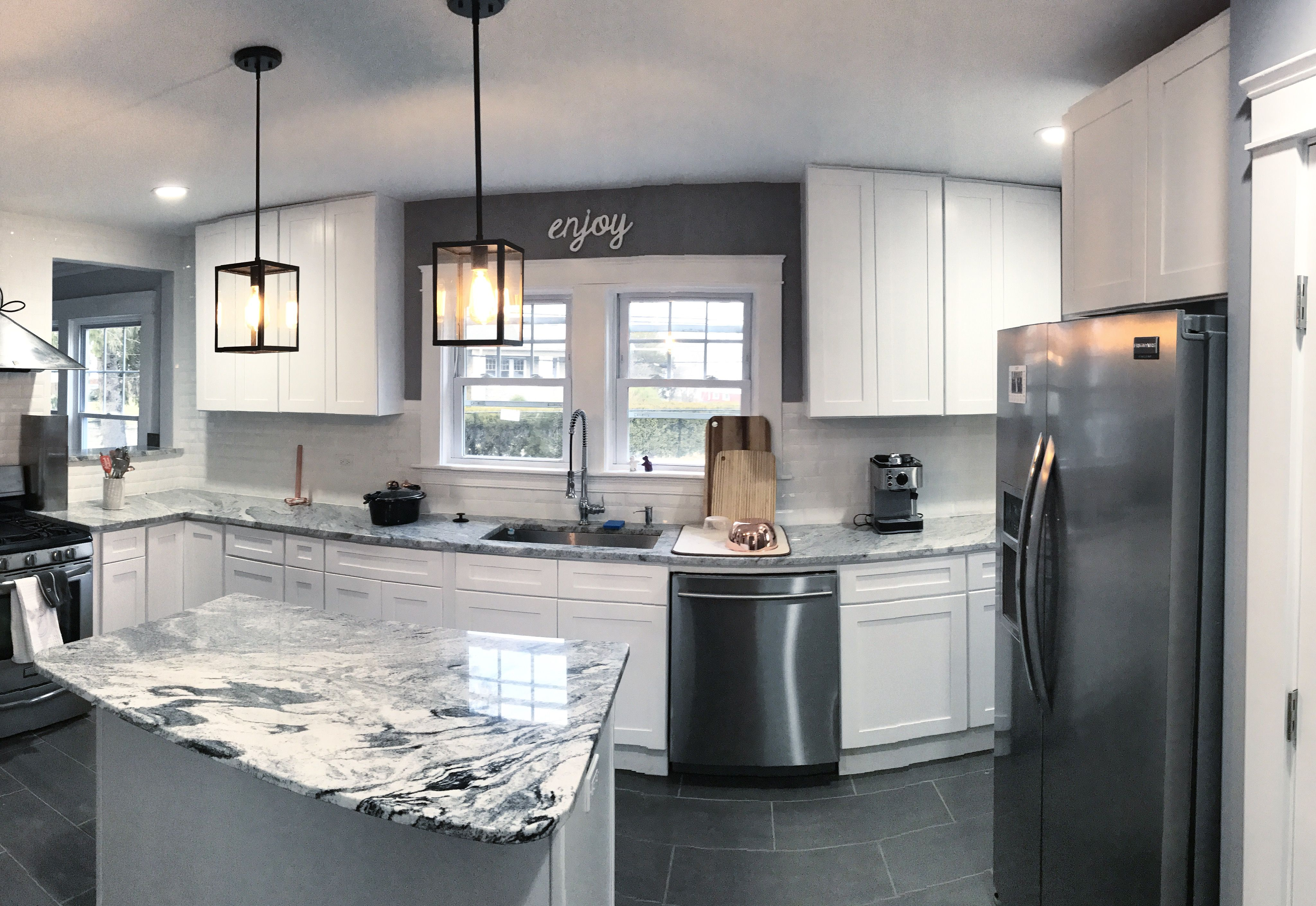 Our Modern kitchen in a 1920s home with White shaker