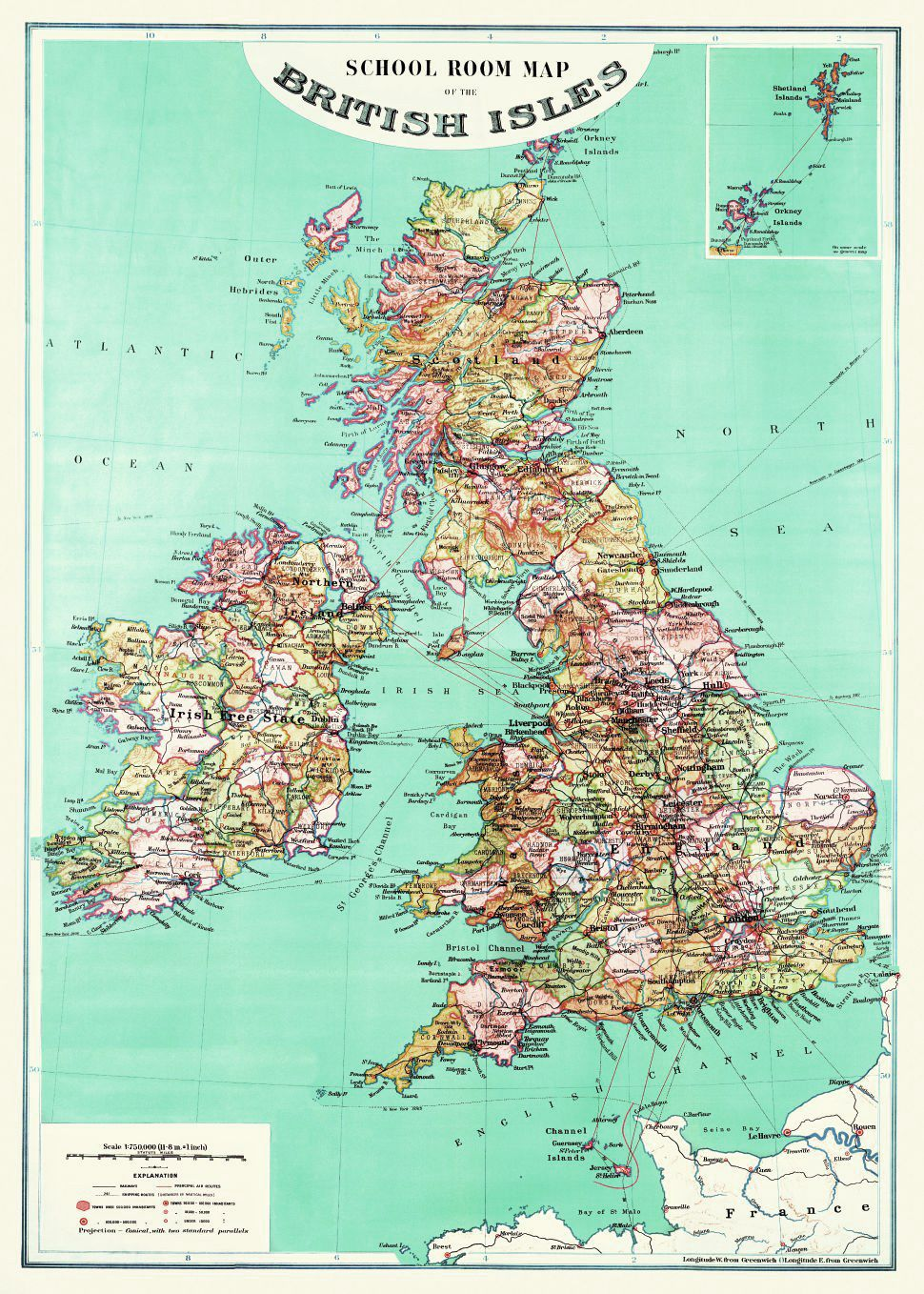 FINE-ART-PRINT-British-Isles-Map-Poster-Paper-or-Canvas-for-home-decor