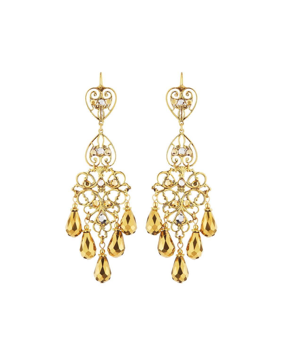 Jose & Maria Barrera Two-Tone Golden Chandelier Earrings, Women's