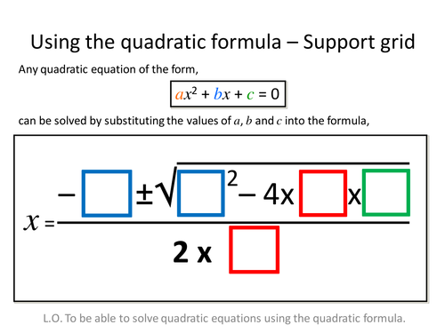 Quadratic Formula Differentiated Worksheets by zbrearley - UK ...
