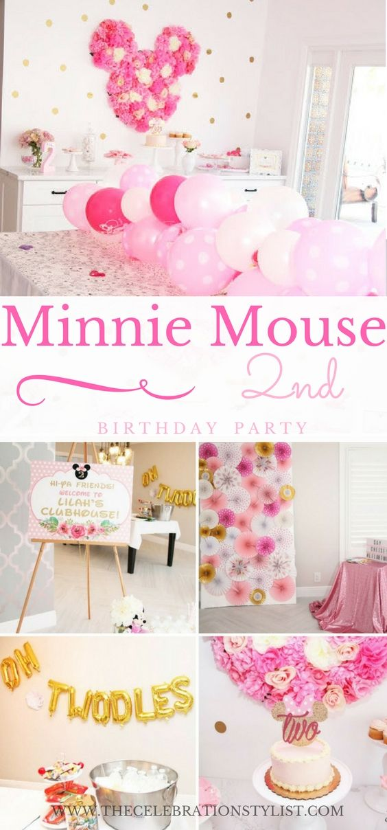 Minnie 2nd Birthday Party Supplies with Oh Twodles Rose Red Happy Birthday Banner Cupcake Toppers