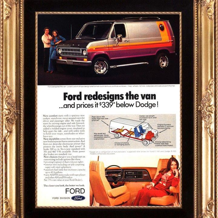 1975 Ford Van Custom With Porthole Window Vintage Ad Vintage Ads Ford Van Custom Vans