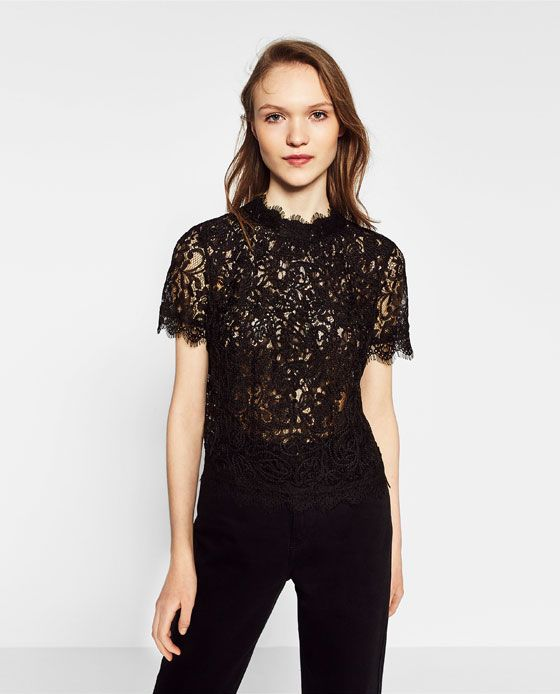 1c3164c91c ZARA - WOMAN - EMBROIDERED LACE T-SHIRT