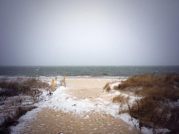 Snow sticking in Brewster, winds crazy strong, 19 degrees,  #ItsSnowJoke at Point of Rocks