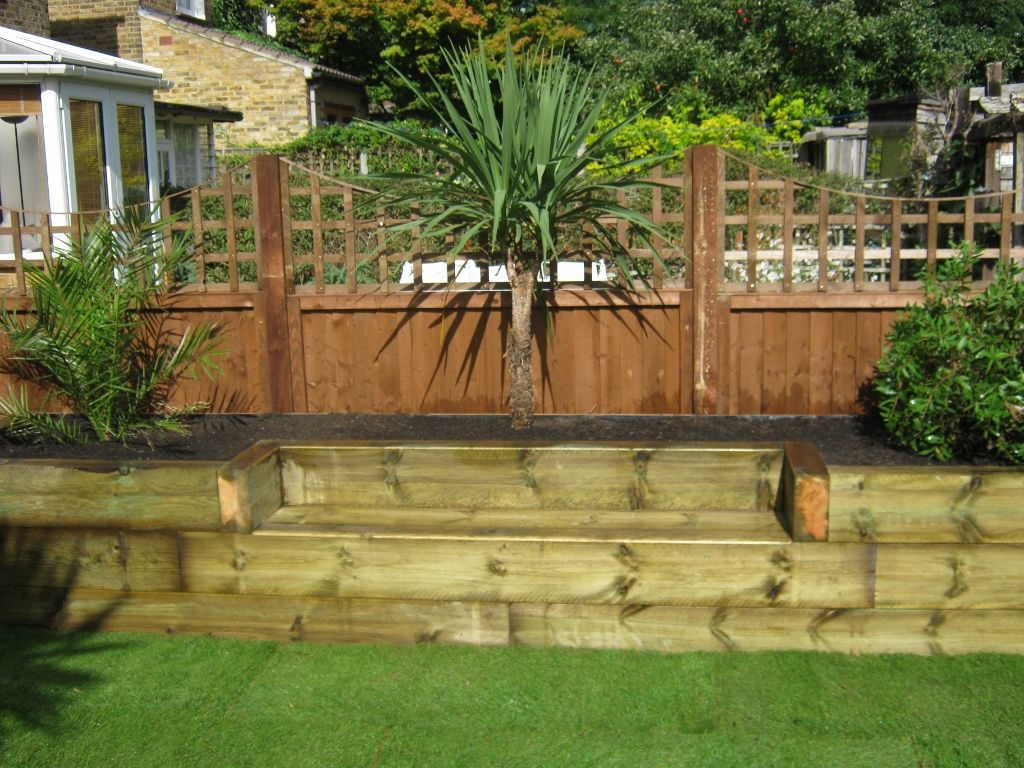raised beds + seat | Fences | Pinterest | Raised bed, Railway ...