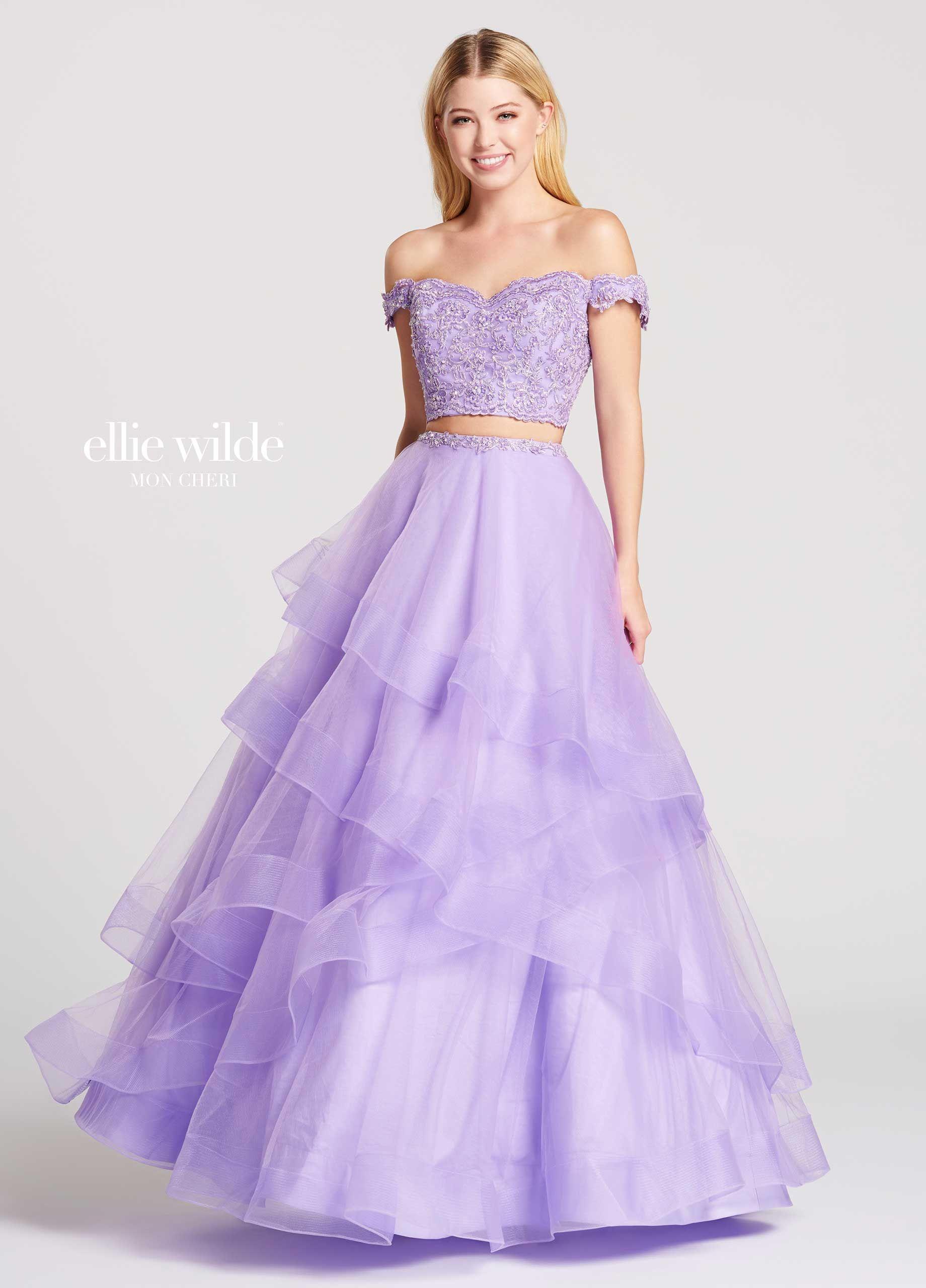 Twopiece offtheshoulder tulle u lace aline prom dress ew
