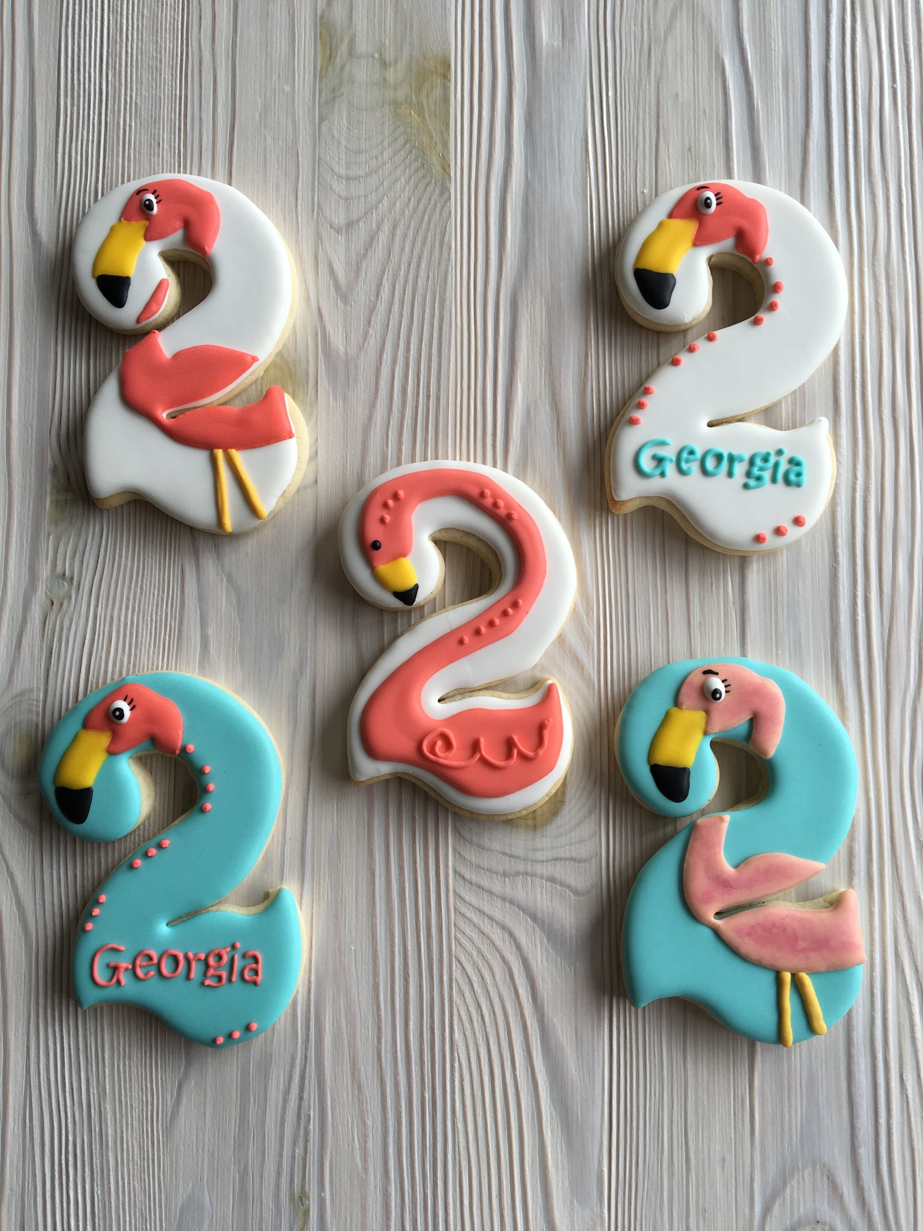Flamingo Birthday Cookies For A 2 Year Old By Dyan