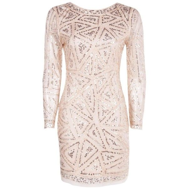 6ded1c8aeb81 Boohoo Lauren Sequin Long Sleeved Bodycon Dress   Boohoo ($42) ❤ liked on  Polyvore featuring dresses, vestidos, cocktail party dress, sequin cocktail  ...