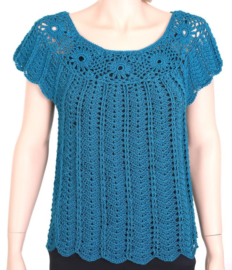 Blue Petrol Shirt Crochet Top Cover Up Summer Shirt T Shirt Crochet Blouse Blue Top Summer Blouse Top Crochet Vestidos De Ganchillo Ganchillo Ropa Chaqueta De Ganchillo