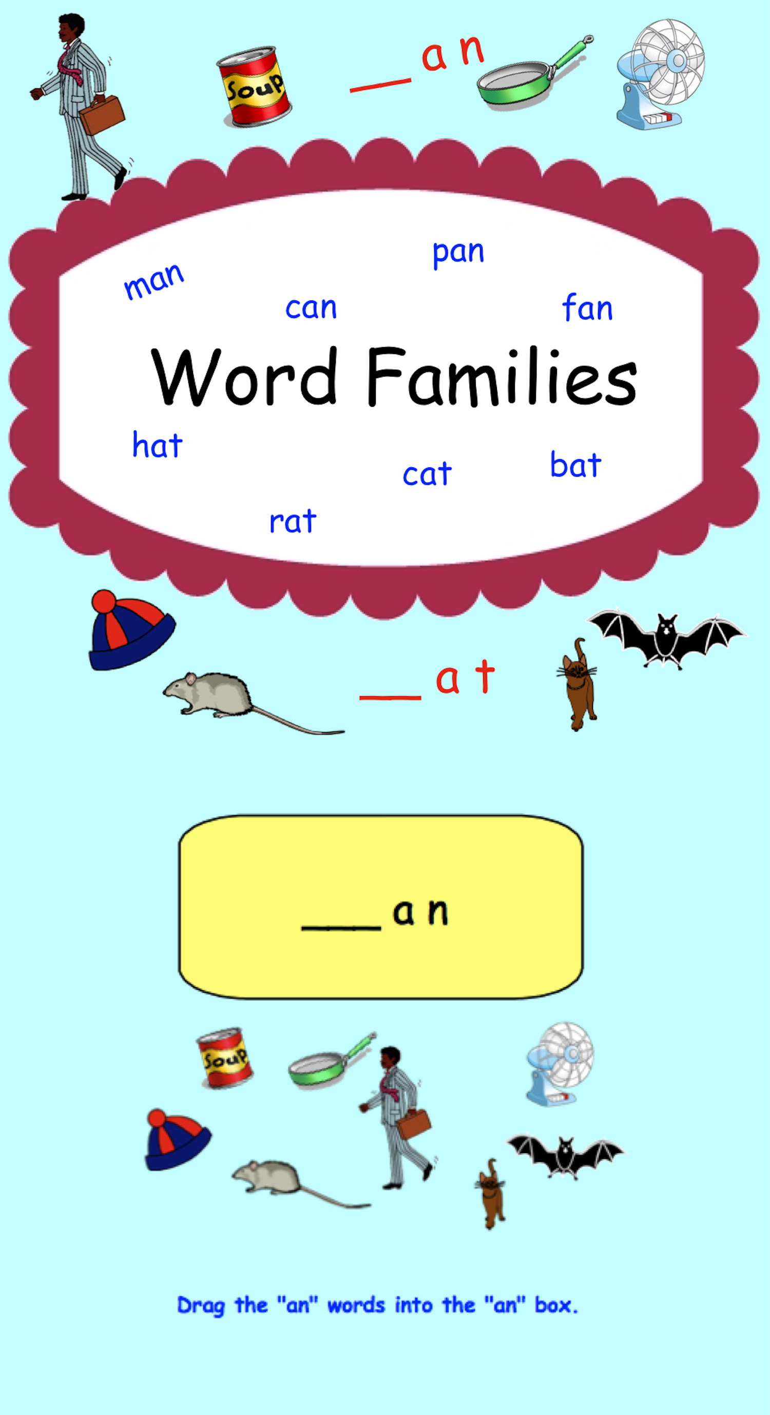 Smartboard Word Families At An In En