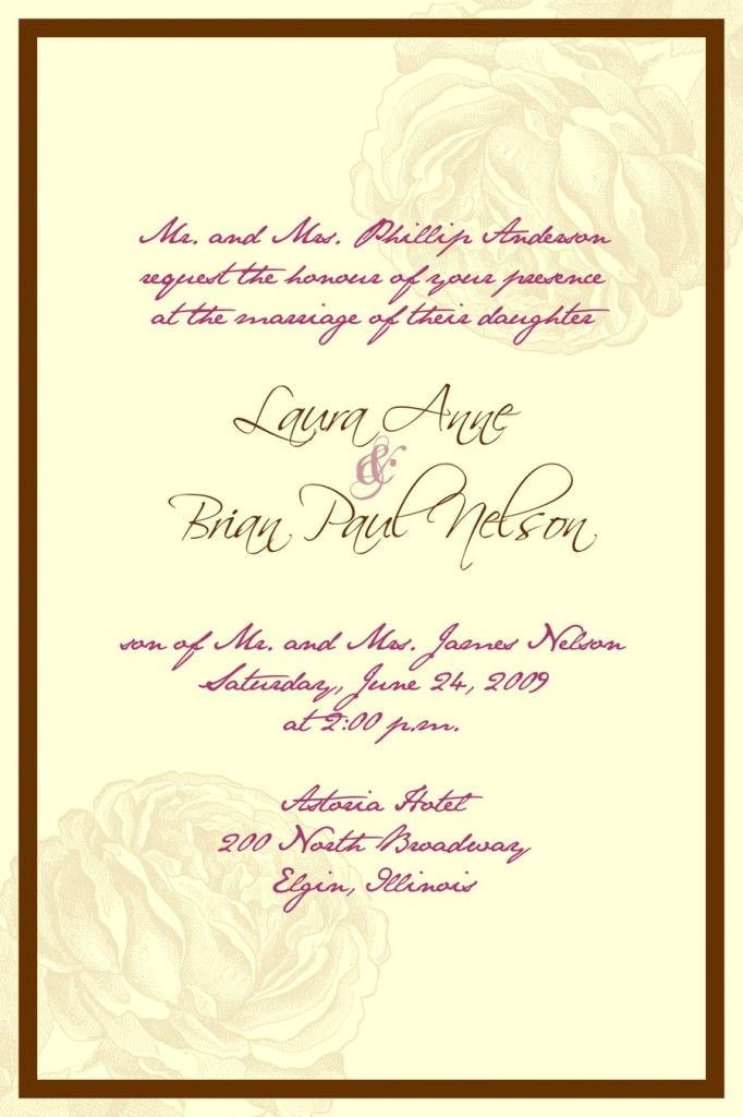 formal wedding invitation wording reply Wedding Invitation - Formal Invitation