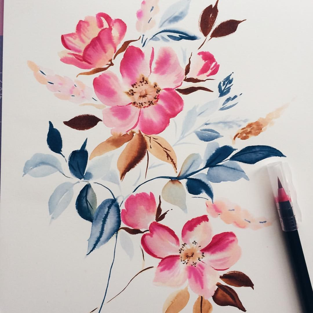 I Just Can T Get Enough Of These Brush Pens Floral Painting