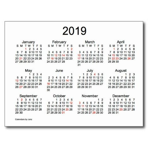 2019 Mini Calendar With Holidays Holiday Postcard Zazzle Com