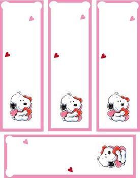 Printable Valentine Bookmarks  Baby Snoopy Valentine Valentines