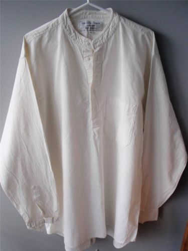 Mens Grandad Shirt In Cream Cheesecloth Sixe Xl By