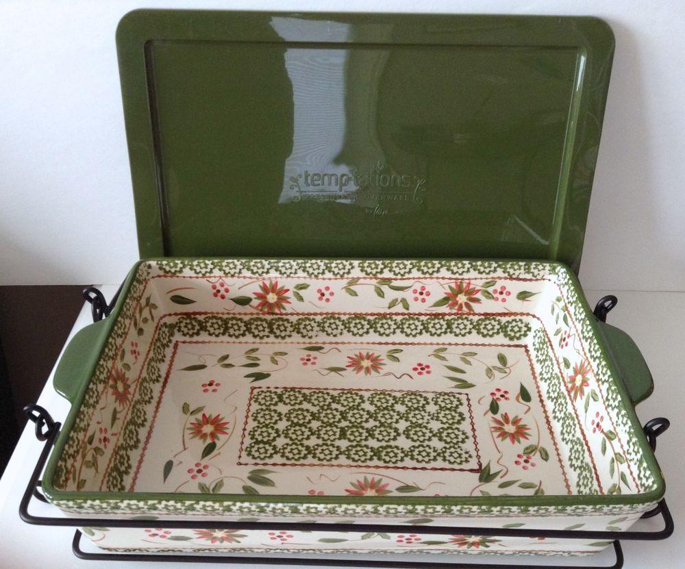 Temp-Tations Poinsettia 2.5 qt Rectangular Baker Rack Trivet Cover ...