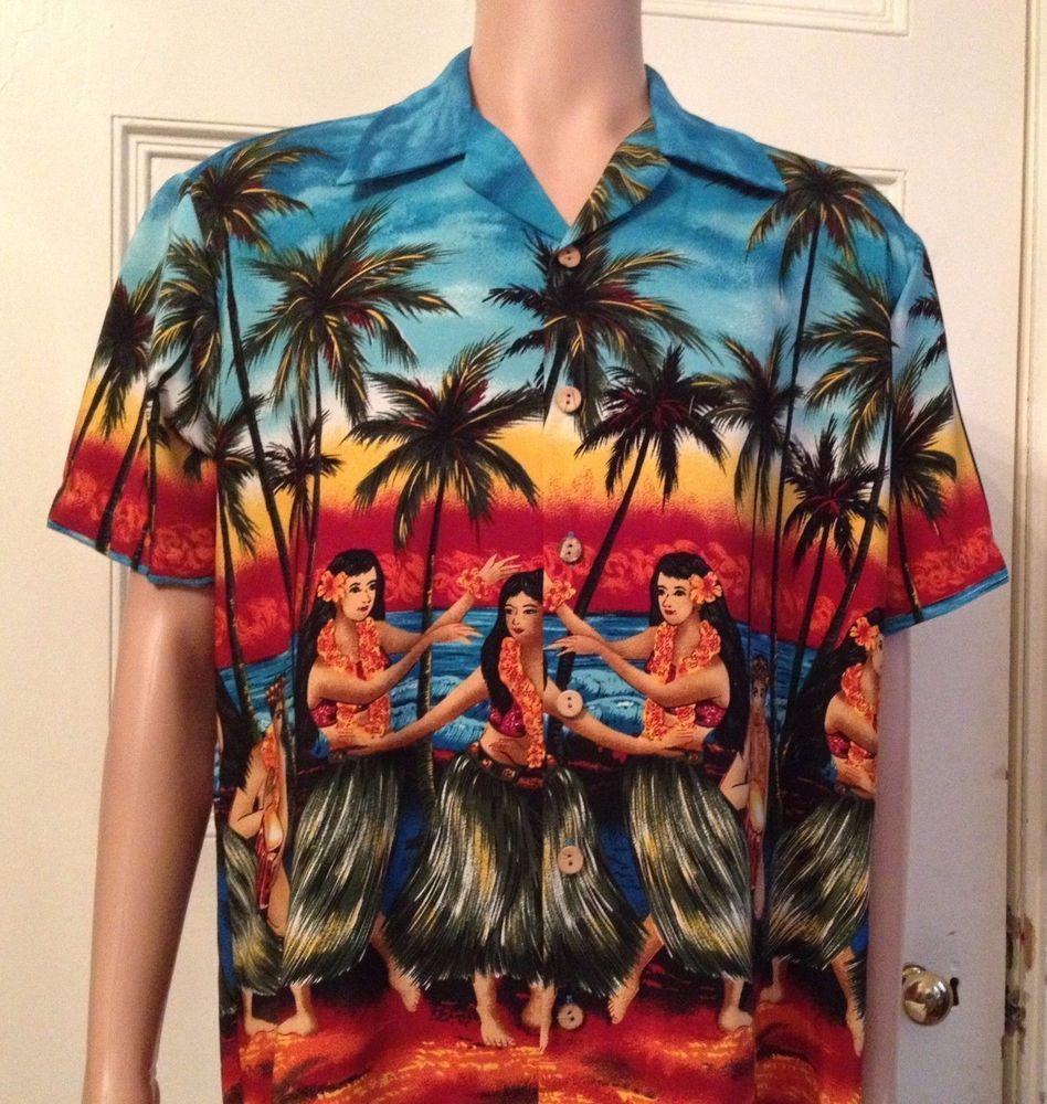 8454d344 Mens Hawaiian Shirt Size L Large Kennington Aloha Hula Girls #Kennington…