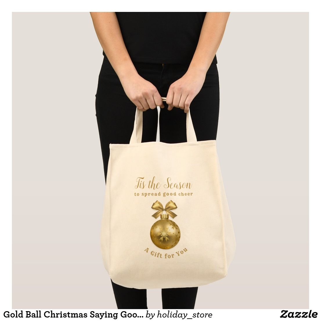 Gold Christmas Tote Bag With Three Lines Of Custom Text Personalize A Name Or Use To Carry Good Cheer Friends And Family